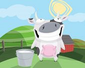 A cow with a bucket of milk.