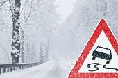 Winter Driving - snowy road with tire tracks and warning sign poster