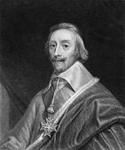 Cardinal Richelieu (1585-1642). Engraved by T.Woolnoth and published in Imperial Dictionary of Unive
