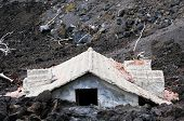 House buried in lava