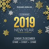 New Year 2019 Party Invitation Poster Design. Retro Gold Typography And Ornament Decoration Illustra poster