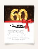 Wedding Invitation Card Template To The Day Of The Sixty Anniversary With Abstract Text Vector Illus poster