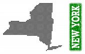 Dotted Map Of New York State And Scratched Caption. Vector Green Title Inside Rounded Rectangle And  poster