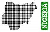 Dotted Map Of Nigeria And Rubber Caption. Vector Green Title Inside Rounded Rectangle And Distress R poster
