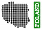 Dotted Map Of Poland And Rubber Caption. Vector Green Title Inside Rounded Rectangle And Retro Rubbe poster