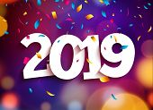 Happy New Year 2019 Background Decoration. Greeting Card Design Template 2019 Confetti. Vector Illus poster