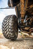 Big Wheel Car Closeup . Offroad 4x4 Concept poster