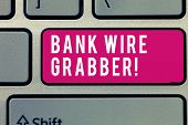 Word Writing Text Bank Wire Transfer. Business Concept For Electronic Transfer Of Money Through Bank poster