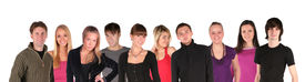 foto of male female  - young people group faces on a white - JPG