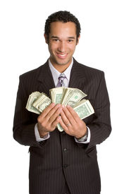 foto of holding money  - Young african american man holding dollar bills - JPG