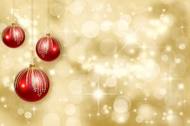 picture of christmas ornament  - Red Christmas ornaments on a gold background de - JPG