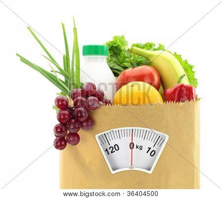 Постер, плакат: Здоровое питание Свежие продукты в бумажный мешок, холст на подрамнике