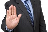 Stop gesture from businessman in suit