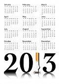 New Year resolution Quit Smoking Calendar with the 1 in 2013 being replaced by a stubbed out cigaret