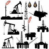stock photo of natural resources  - The contours of the oil industry facilities - JPG