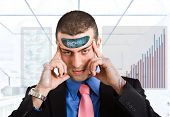 Businessman using his electronic mind
