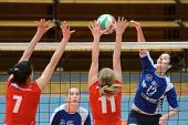 KAPOSVAR, HUNGARY - APRIL 22: Karmen Kovacs (blue 12) in action at the Hungarian I. League volleybal