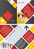 Red, yellow and black template for advertising brochure with business people