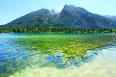 Pure water in a beautiful alpine lake.  Hintersee Lake, Bavarian Alps in the Berchtesgaden National Park, Germany