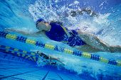 pic of gush  - Low angle view of female swimmers gushing through water in pool - JPG