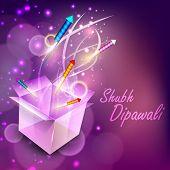 Hermosa iluminación petardos que salen de la caja para la comunidad hindú festival Diwali o profundo