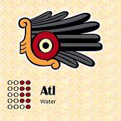 Aztec calendar symbols - Atl or water (9)