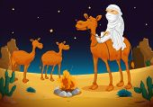 illustration of a arab and camel in dark night