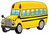Funny school bus. Cartoon and vector isolated character.