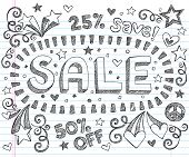 Sale Sketchy Notebook Doodles Discount 50 Percent Off Shopping Hand-Drawn Illustration Design Elemen