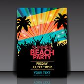 Retro Summer Beach Party Flyer - Vector Design