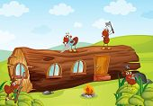 picture of fire ant  - illustration of ants and beautiful wooden house - JPG