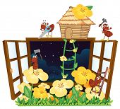 illustration of ants, bird house and window on white