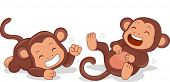 Illustration of Cute Little Monkeys Rolling on the Floor Laughing