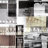Grungy old film negatives overlapping