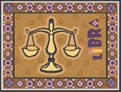 Stylized Zodiac backgrounds series. Libra sign with symbols on a background.