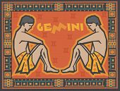 Stylized Zodiac backgrounds series. Gemini sign with symbols on a background.