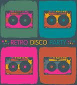 Retro disco party invitation in pop-art style. Vector, EPS8