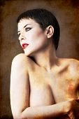 foto of seminude  - seminude beautiful short haired brunette woman - JPG