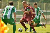 KAPOSVAR, HUNGARY - AUGUST 26: Krisztian Kircher (green 6) in action at a Hungarian Championship II.