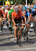 BARCELONA - AUG, 26: Euskaltel-Euskadi spanish cyclist Igor Anton rides with the pack during the Vue