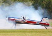 PILSEN, CZECH REPUBLIC - AUGUST 25: The Yakovlev Yak-55 aerobatic aircraft piloting famous Czech aer