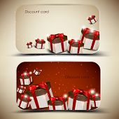 Collection of discount cards with gifts. Vector background