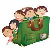 Постер, плакат: Иллюстрация детей в зеленый мешок