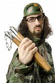 Funny soldier with nunchaku