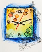 Modern square clock time concept, watercolor with slate-pencil painting