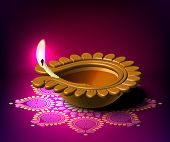 image of kolam  - Diwali Oil Lamp - JPG