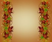 Thanksgiving Fall Leaves Borders Sparkle