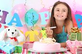 Little beautiful girl celebrate her birthday