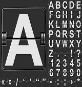 picture of outdated  - Alphabet in airport arrival and departure display style template - JPG