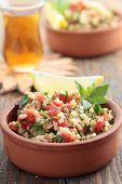 Tabbouleh with bulgur, tomatoes, parsley, mint, and lemon